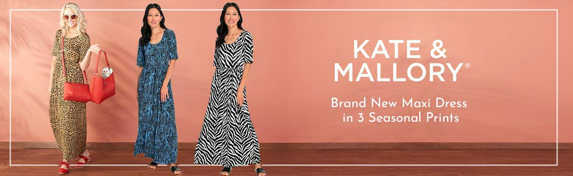 752-881 Kate & Mallory® Stretch Knit Elbow Sleeve Scoop Neck Maxi Dress