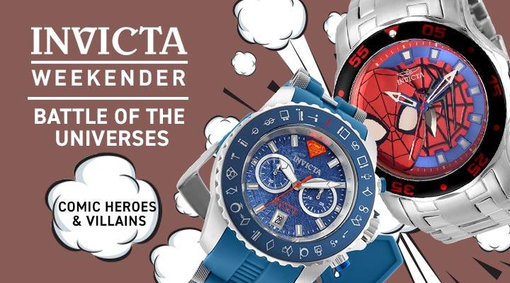 686-127 Invicta Marvel Men's 48mm Pro Diver Scuba Quartz Spiderman Stainless Steel Bracelet Watch, 689-927 Invicta DC Comics Men's 50mm Quartz Limited Edition Date Stainless Steel & Silicone Strap Watch