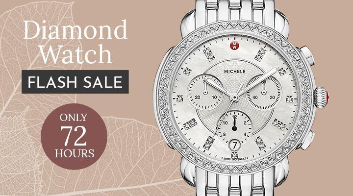 697-464 Michele Sidney Women's Swiss Made Quartz Chronograph Diamond Accented Stainless Bracelet Watch