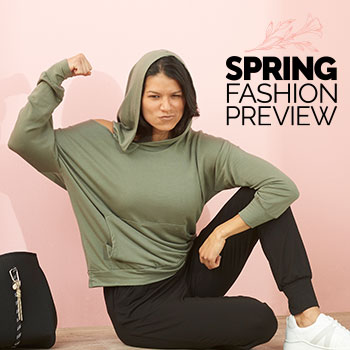 Spring Fashion Preview Encore - Last Chance To Save! 751-947 Elan One Shoulder Kangaroo Pocket V-Neck Hoodie