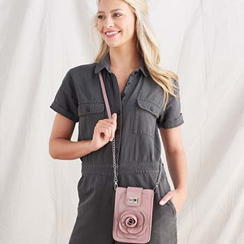 Handbags For All Styles & Budgets -  752-538 Mellow World Rosa Patent Leather Flower Detailed Phone Carrier