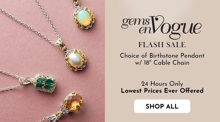 150-842 Gems en Vogue Choice of Birthstone Pendant w 18 Cable Chain