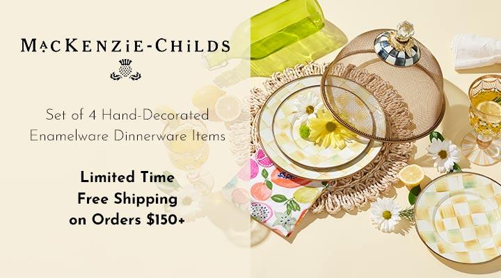 467-977  Mackenzie-Childs Set of 4 Hand-Decorated Enamelware Dinnerware Items