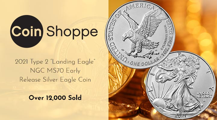 """506-385   2021 Type 2 """"Landing Eagle"""" NGC MS70 Early Release Silver Eagle Coin"""