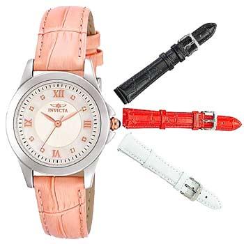 693-681 Invicta Women's Angel Swiss Quartz Diamond Accented Watch w 4-piece Strap Set