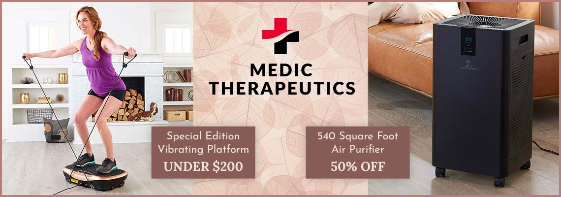 003-987 Medic Therapeutics Special Edition Vibrating Platform w Bluetooth & Magnetic Therapy, 004-249 Medic Therapeutics 540 sq ft Air Purifier w Activated Carbon HEPA H13 Filtration System