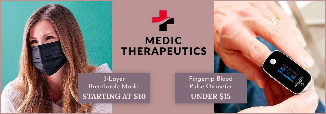 Medic Therapeutics 003-484 3-Layer Breathable Masks Starting at $10,  004-183 Fingertip Blood Pulse Oximeter Under $15