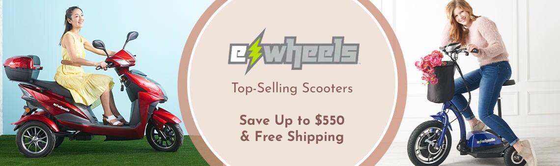 498-185 EWheels 3-Wheel 15mph Top Speed Electric Scooter w Lockable Storage & Extended Warranty, 498-186 EWheels 3-Wheel 15mph Max Speed Sit & Stand Electric Scooter w Basket & 5-Year Extended Warranty