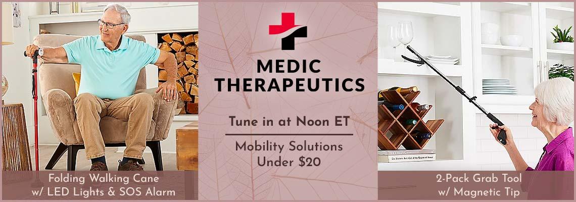 Medic Therapeutics - Under $20 - 004-051 2-Pack Grab Tool w Magnetic Tip, 002-702 Folding Walking Cane w LED Lights & SOS Alarm