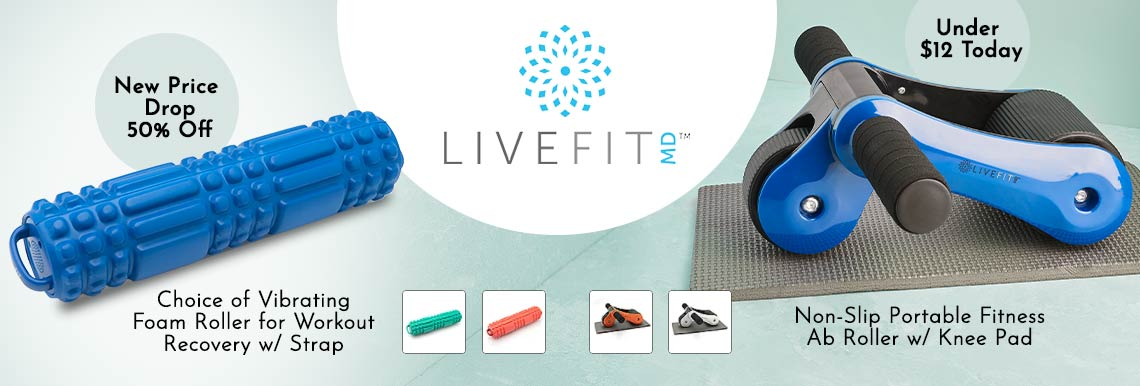 002-674 LiveFit Choice of Vibrating Foam Roller for Workout Recovery w Strap,  002-675 LiveFit Non-Slip Portable Fitness Ab Roller with Knee Pad