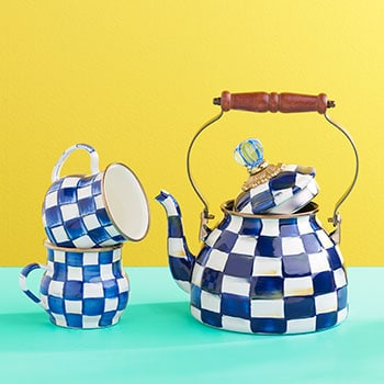 Shop All MacKenzie-Childs Last Chance For 2020 Pricing - 467-983 MacKenzie-Childs Set of 4 (16 oz) Hand-Decorated Enamelware Mugs