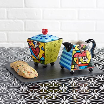 BRITTO Artworks World Renowned Pop Art - 491-455 Britto 7 oz Ceramic Heart Sugar & Creamer Set