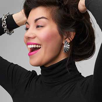 Sorrento Italian Silver ft 195-479 Sorrento Italian Silver Fan Design Earrings
