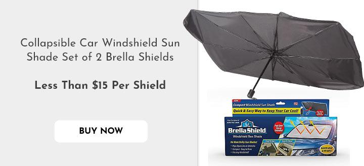 505-229 Collapsible Car Windshield Sun Shade Set of 2 Brella Shields