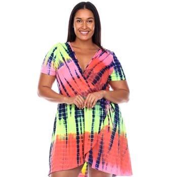 760-753 White Mark Women's Tie-Dye V-Neck Wrap Dress