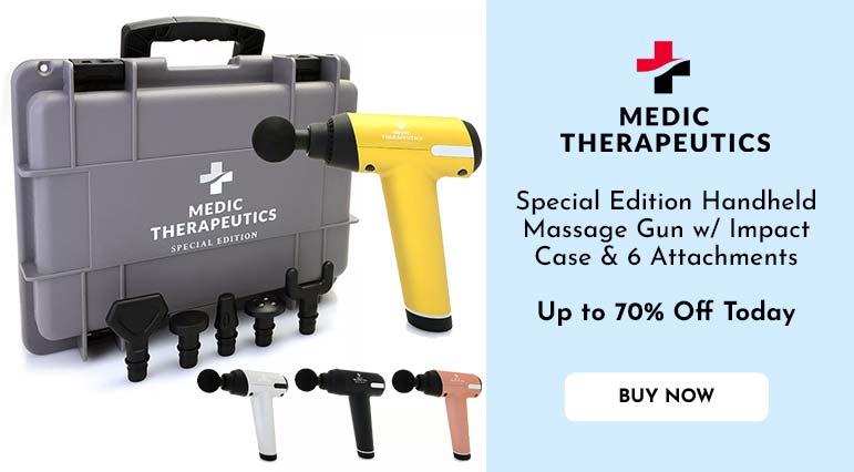 003-485 Medic Therapeutics Special Edition Handheld Massage Gun w Impact Case & 6 Attachments