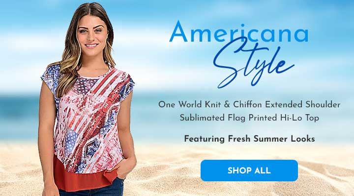 746-726 One World Knit & Chiffon Extended Shoulder Sublimated Flag Printed Hi-Lo Top