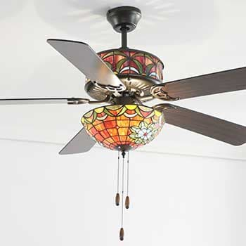 500-184 Dale Tiffany 50 Wyndover Double Lit Stained Glass 3-Speed Ceiling Fan w Remote