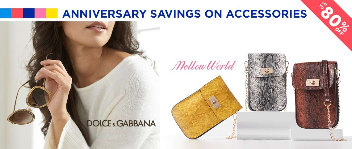 Anniversary Savings on Accessories  Up to 80% off Handbags, Sunglasses, Wraps & More - 751-362 Dolce & Gabbana 54mm Rounded Frame Designer Sunglasses, 744-532 Mellow World Shiro Snake Embossed Turnlock Phone Clutch w Removable Strap