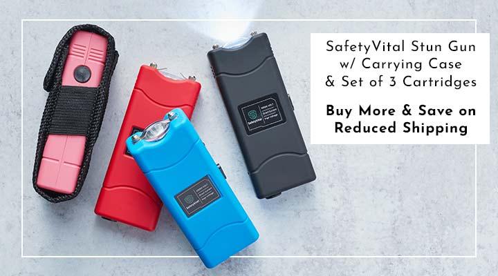 003-791 SafetyVital Stun Gun w Carrying Case & Set of 3 Cartridges