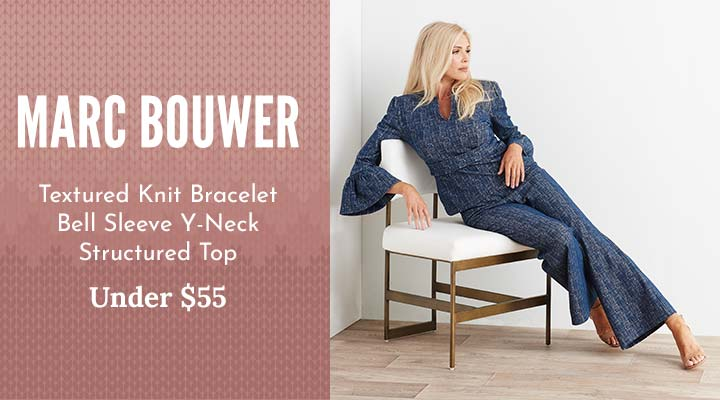 745-961 Marc Bouwer Textured Knit Bracelet Bell Sleeve Y-Neck Structured Top