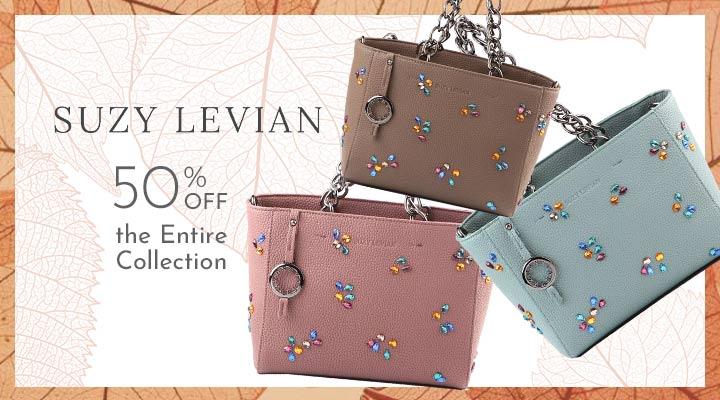 750-879 Suzy Levian Pebbled Faux Leather Rhinestone Satchel Handbag
