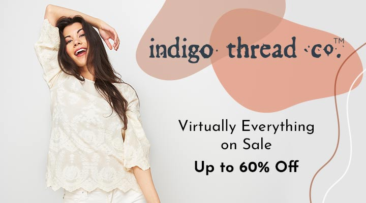 749-558 Indigo Thread Co.™ 100% Cotton 34 Sleeve Scallop Hem Embroidered Top