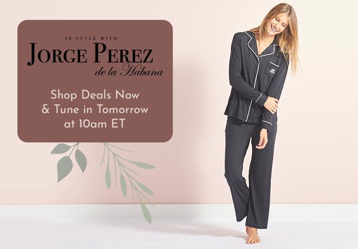 750-532 Jorge Pérez Classic Piping Detailed Long Sleeve Top & Pants Pajama Set