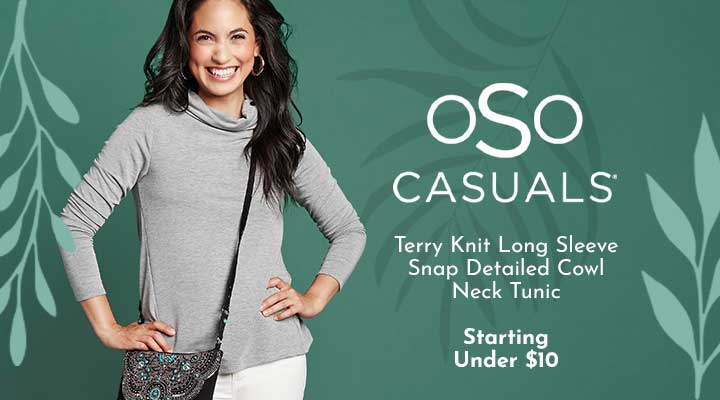 749-689 Terry Knit Long Sleeve Snap Detailed Cowl Neck Tunic
