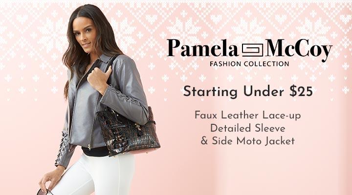 753-089 Pamela McCoy Faux Leather Lace-up Detailed Sleeve & Side Moto Jacket