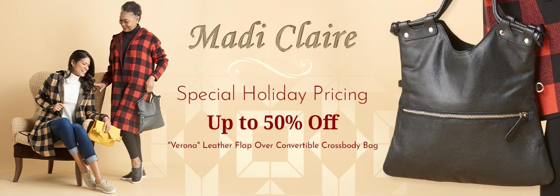 760-482 Madi Claire Verona Leather Flap Over Convertible Crossbody Bag