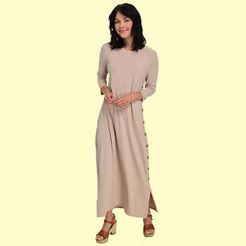 Take The Floor - 750-720 Kate & Mallory® Knit Elbow Sleeve Button Detailed Scoop Neck Maxi Dress