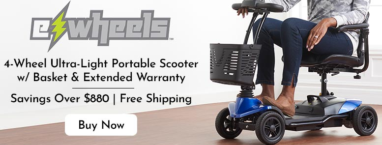 501-012 EWheels 4-Wheel Ultra-Light Portable Scooter w Storage Basket & Extended Warranty