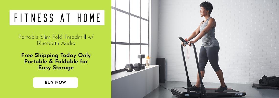 005-151 Living Essentials Portable Slim Fold Treadmill w Bluetooth Audio
