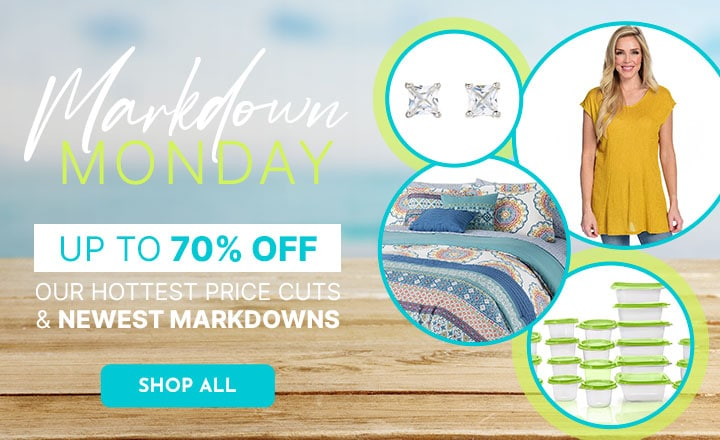 Markdown Monday - 70% Off, 176-890 Gems en Vogue Choice of Cut White Zircon Stud Earrings, 742-154 Knithaus™ Millie Knit Cap Sleeve V-Neck Rounded Hem Seam Detailed Top, 482-479 Cozelle® Ophelia Microluxe™ 10-Piece Comforter Set 496-655 Diamond Home 42-Piece Assorted Food Storage Set,