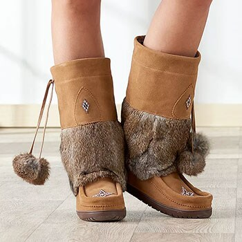 Cold Weather Accessories Hat, Gloves, Boots & More 744-503 Manitobah Mukluks Snowy Owl Waterproof Leather Mid-Calf Boots