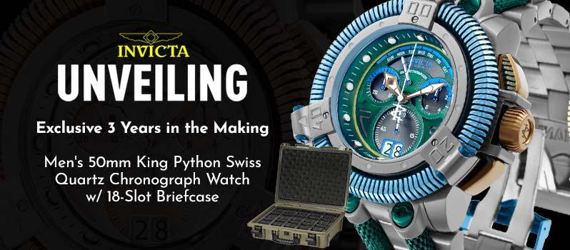 687-215 687-215 Invicta Reserve Men's 50mm King Python Swiss Quartz Chronograph Watch w 18-Slot Briefcase