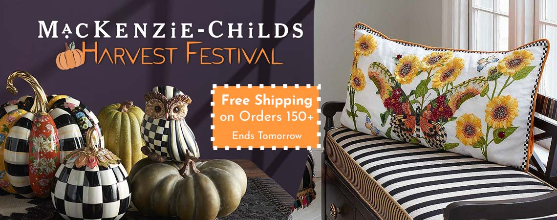 MacKenzie-Childs Harvest Festival Ft. 487-575 Set of 2 Hand-Painted Check and Stripe Owl Figurines, Ft. 503-885 White Monarch Butterfly Lumbar Pillow
