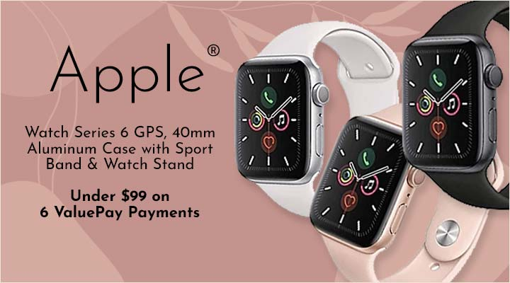 500-330 Apple® Watch Series 6 GPS, 44mm Aluminum Case with Sport Band & Watch Stand