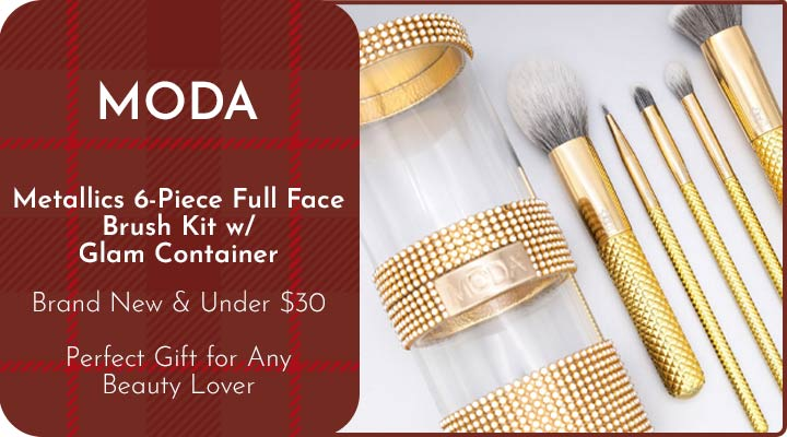 320-868 MODA Metallics 6-Piece Full Face Brush Kit w Glam Container