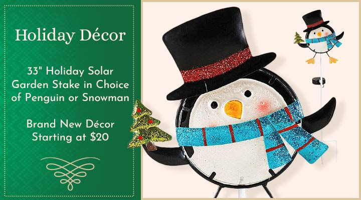 509-582 Evergreen 33 Holiday Solar Garden Stake in Choice of Penguin or Snowman
