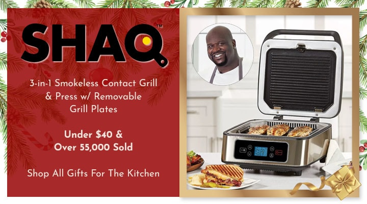 496-627 SHAQ 3-in-1 Smokeless Contact Grill & Press wRemovable Grill Plates453-143
