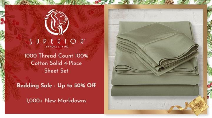 453-143 Superior 1000 Thread Count 100% Cotton Solid 4-Piece Sheet Set,