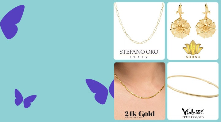 Gold Jewelry  Shop Gorgeous Gold Looks From Your Favorite Designers  Up to 40% Off - 194-095 Stefano  193-862 Sohna  190-707 24k Gold Lambert  194-785 Viale18K