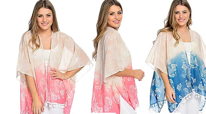 741-019 Fig & Vine Printed Woven Elbow Sleeve Open Front Tassel Trimmed Kimono