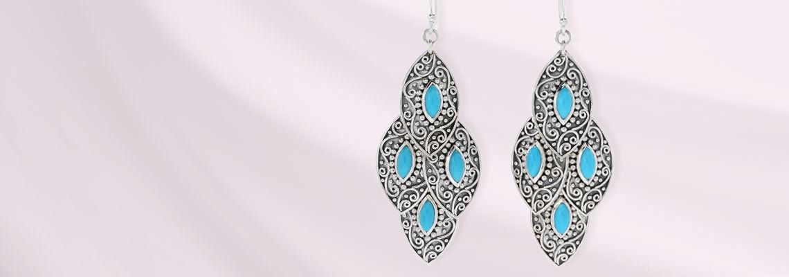 171-317 Artisan Silver by Samuel B. 2.25 Sleeping Beauty Turquoise Drop Earrings