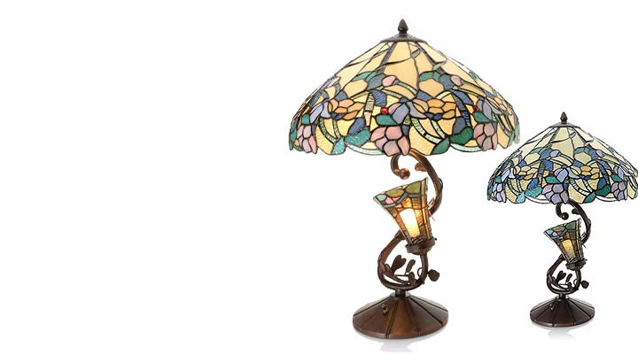 486-440 Tiffany-Style 24.5 Dahlia Lily Double Lit Stained Glass Table Lamp