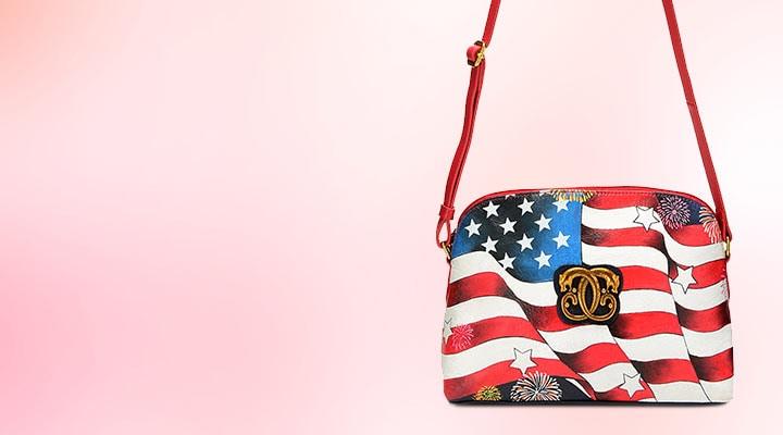 744-703 Sharif I Love USA Hand-Painted Leather Zip Top Crossbody Bag