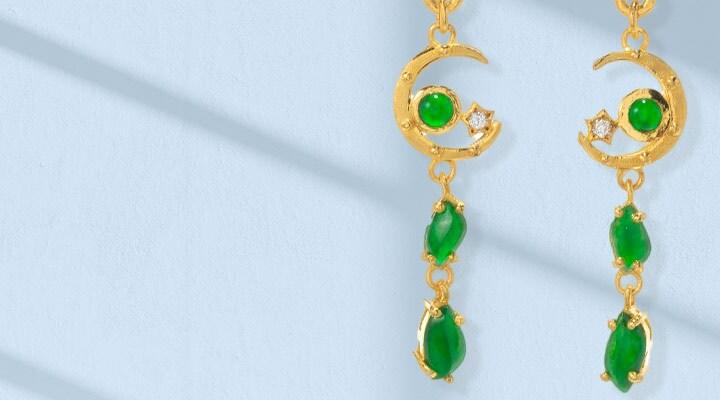 184-203 Lambert Cheng 24K Gold 1.75 Imperial Jade & Diamond Crescent Moon & Star Drop Earrings