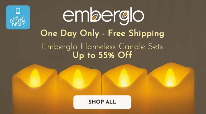 478-259 Emberglo Set of 4 3 Votive Flameless Candles w Remote